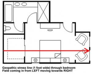 Floorplan geopathic stress through bedroom
