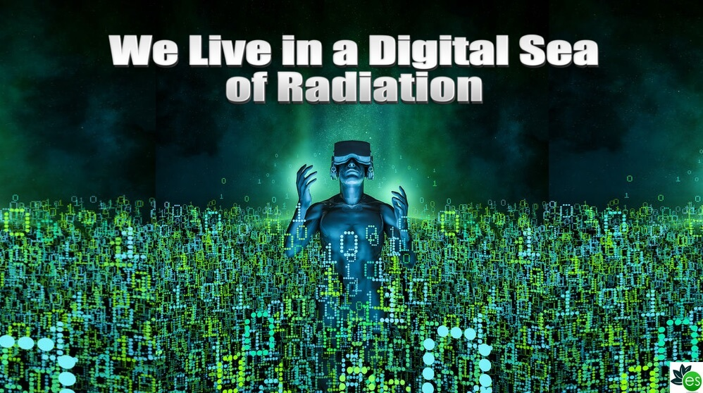 Person in a digital sea of 5g dangerous radiation